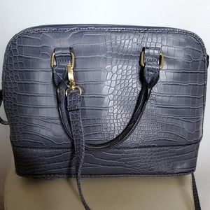 Bueno croc embossed leather bag
